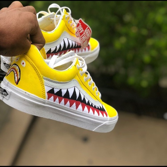 2c56be52fc5 Yellow bape old skool vans customs